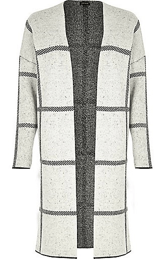 Grey Check Knitted Cardigan, $100, riverisland.com